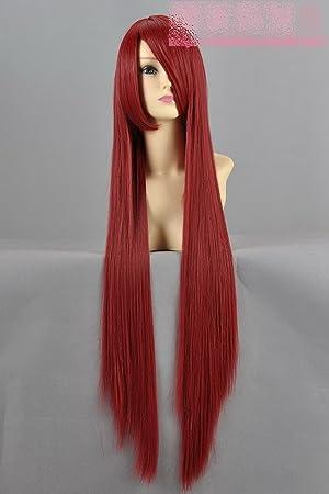 Eday recta de color rojo oscuro peluca larga cosplay peluca Makise Kurisu piedra destino vino puerta