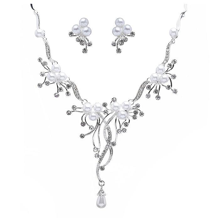 Amazon Com Bella Vouge Bridal Wedding Jewelry Set Crystal