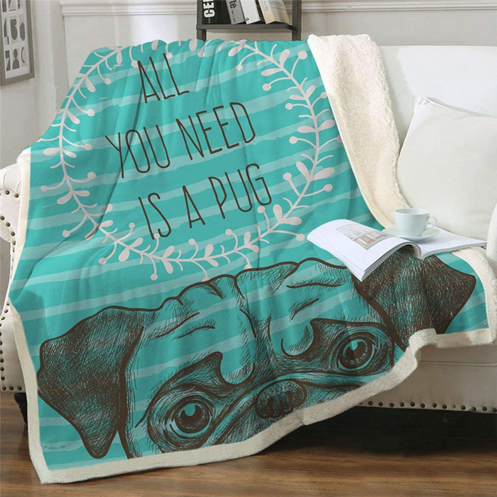 """Famitile Kids Sherpa Fleece Blanket Bedding Super Soft Plush Throw Comfort Warm Cartoon Blanket for Children Boys or Adult Couch Bed Chair Office Sofa (47"""" x 60"""") (Pug-1, 47""""×60"""")"""