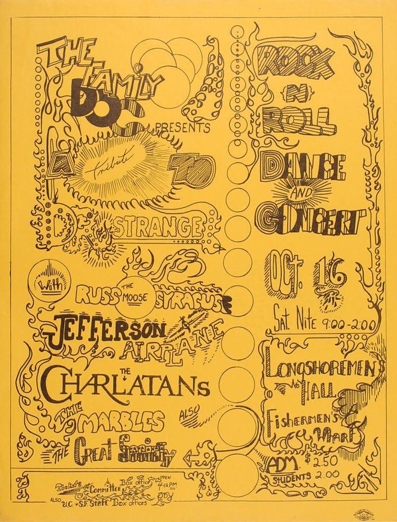 A Tribute to Dr. Strange 1965 Concert Poster, Longshoremans Hall ...