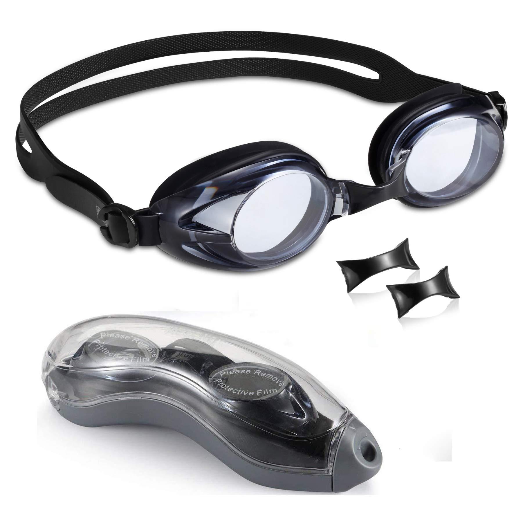 Aegend Swim Goggles 3 Sizes Nose Pieces Clear Vision Anti-Fog Men Women Adult
