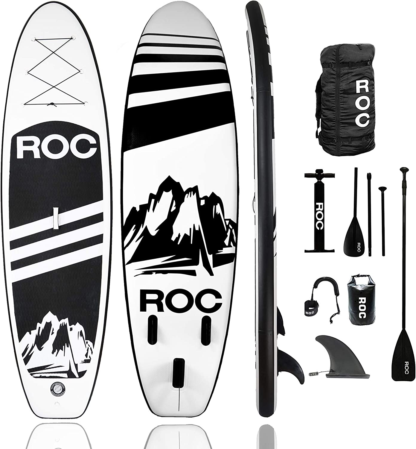 Roc Inflatable Stand Up Paddle Board W Free Premium SUP Accessories & Backpack, Non-Slip Deck Bonus Waterproof Bag, Leash, Paddle and Hand Pump Youth & Adultt