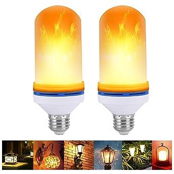VIPMOON 2Pack E27 Efecto de llama LED Bombilla de luz de fuego Parpadeo Lámpara de llama
