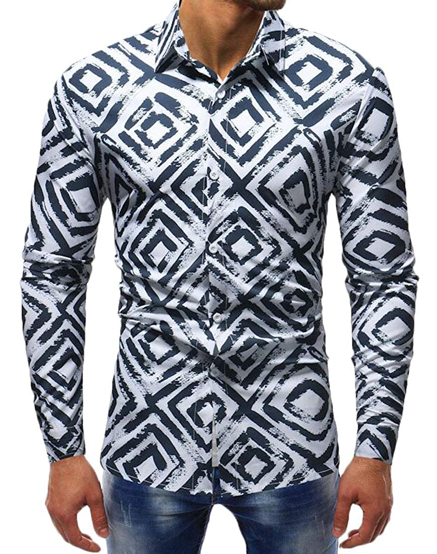 Hurrg Mens Design Long Sleeve Button Down 3D Pattern Casual Geometry Dress Shirt