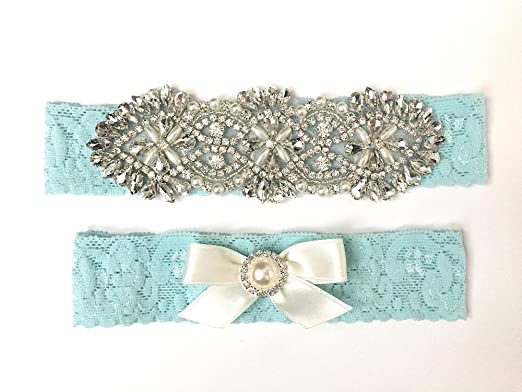 9b16005c39d Image Unavailable. Image not available for. Color  Blue Wedding Garter Set