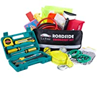 Lx Free 142-Piece Roadside Assistance Auto Emergency Kit with Jumper Cables,Tow Rope, Bandage, Safety Vest,Multi-function flashlight etc, All Ultimate Supplies in One Pack For Your Car Truck Or SUV