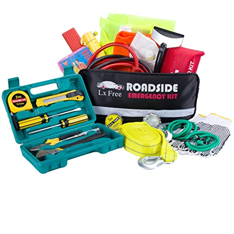 Amazon Com Car Emergency Kit Road Rescue First Aid Kit For