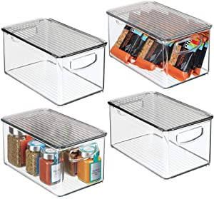 "mDesign Plastic Stackable Kitchen Pantry Cabinet, Refrigerator, Freezer Food Storage Box with Handles, Lid - Organization for Fruit, Jars, Snacks, Pasta - 10"" Long, 4 Pack - Clear/Smoke Gray"