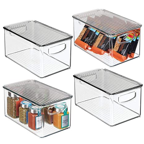Long Open-Top Refrigerator Storage Tray with Handle Shelf Box or for Cupboard Storage Can Be Used as Fridge Tray mDesign Set of 4 Plastic Storage Box Clear