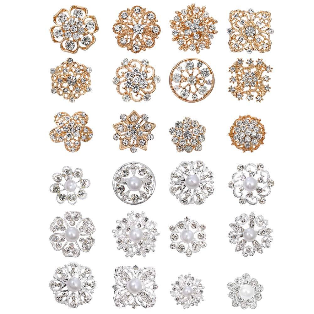 Sntieecr 24 Pieces Clear Rhinestone Crystal Flower Brooches Pins Kit with Gold and Sliver Faux Pearl Crystal Brooches for Wedding Party Bouquet Women Dress Decorations by Sntieecr