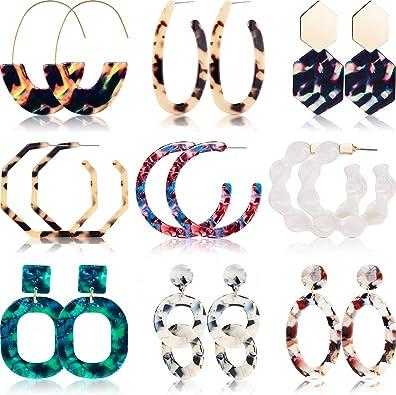 Injoy Jewelry Mottled Acrylic Dangle Drop Earrings Resin Hoop Earrings Fashion Statement Earrings for Women Girls