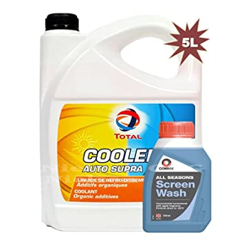 367fa479be Total Coolelf Auto Supra liquide de refroidissement antigel 5L + Comma  concentré d'écran Lavage