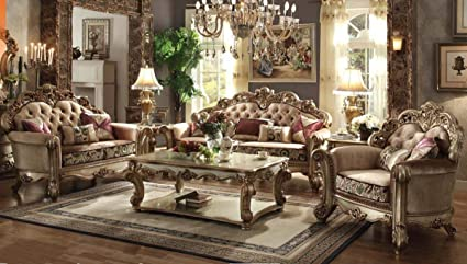 Amazon.com: ACME Vendome Living Room Set with Sofa and ...