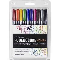 Tombow 56429 Fudenosuke Colors Brush Pens, 10-Pack. Hard Tip Fudenosuke Brush Pens in Assorted Colors for Calligraphy and Art Drawings