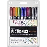 Tombow 56429 Fudenosuke Colors Brush Pens, 10-Pack. Hard Tip Fudenosuke Brush Pens in Assorted Colors for Calligraphy and Art