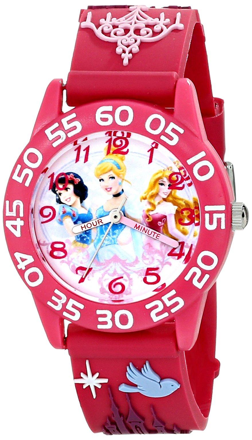 Disney Kids' W001510''Time Teacher'' 3D Disney Princess Watch With Pink Plastic Band