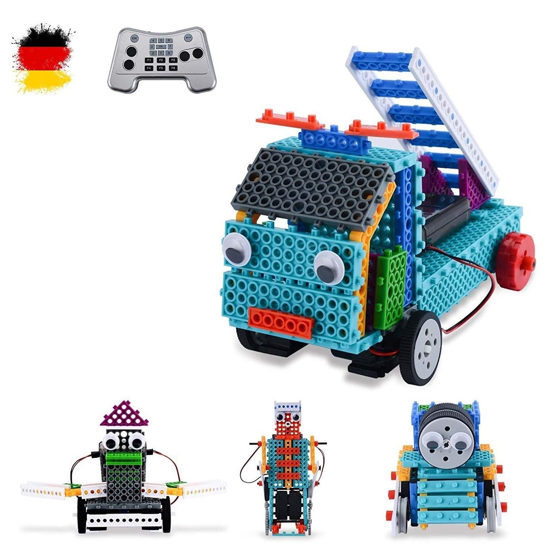 4 in1 Modellino DIY RC, Costruzione di modelli di Fabbricazione di mattoni di auto con telecomando, veicolo, Robot, gru, camion in mattoncini per costruire da costruire, Set Completo