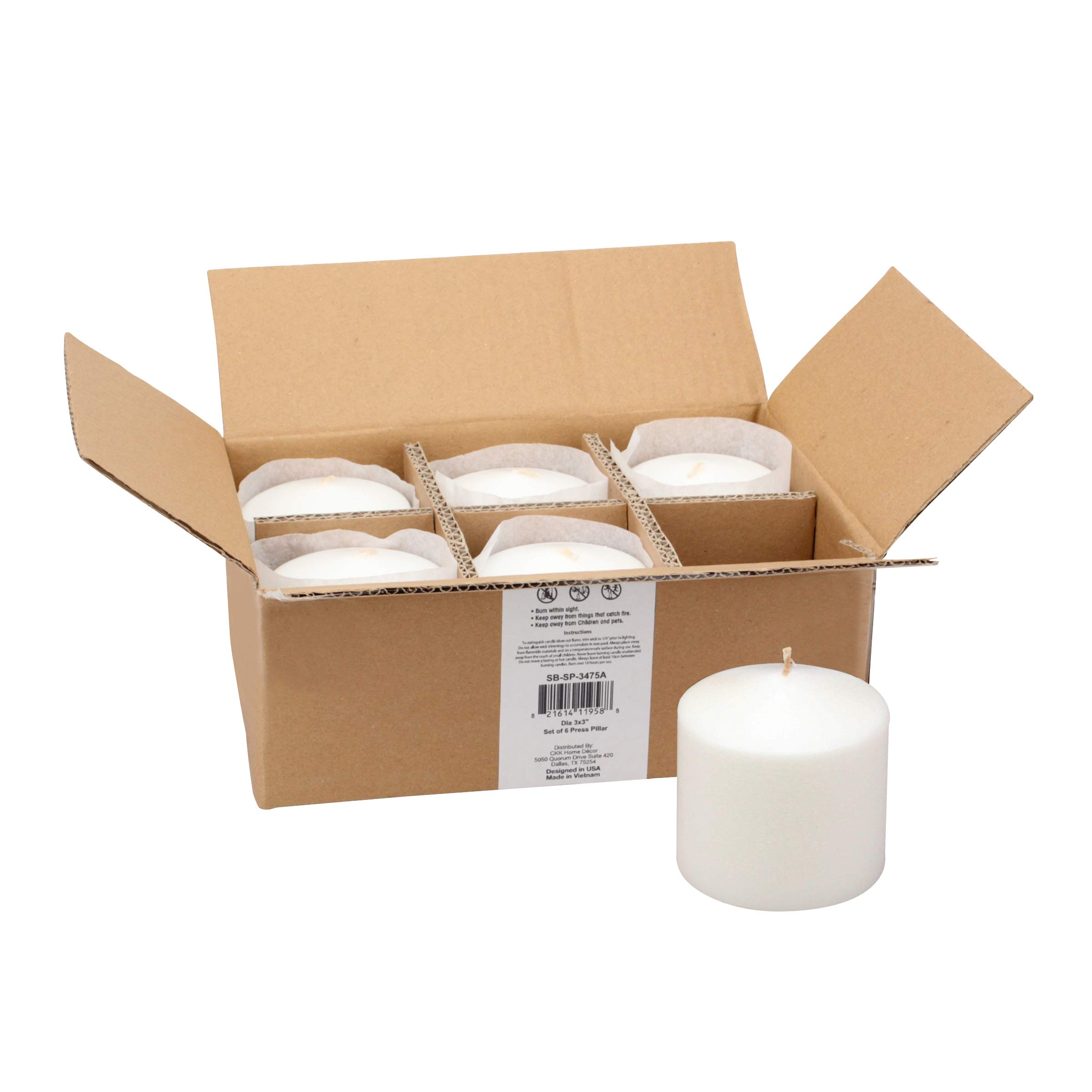 Stonebriar 18 Hour Long Burning Unscented Pillar Candles, 3x3, White