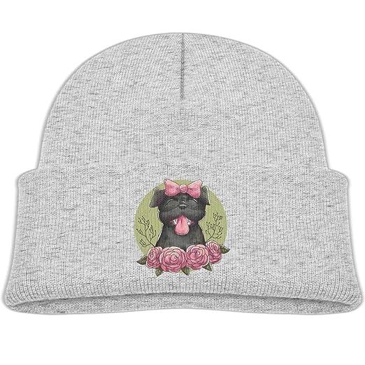 98978e52b Amazon.com: Kocvbng I Bow Pug and Rose Flower Beanie Cap Skull Hat ...