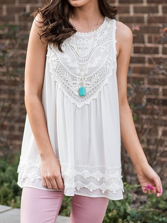 Ladies Plus Size Sleeveless White Top with Lace Trim Cotton Sizes 8-10-12-18 NEW