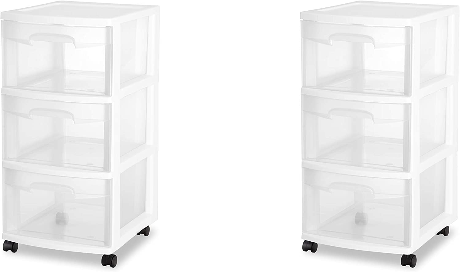 Sterilite 28308002 3 Drawer Cart, White Frame with Clear Drawers and Black Casters