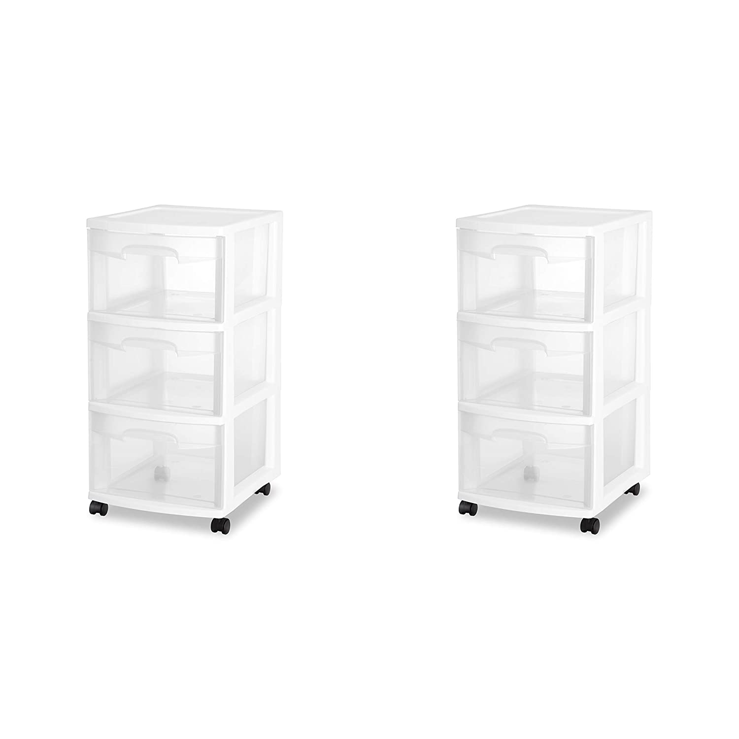 Sterilite 28308002 3 Drawer Cart, White Frame with Clear Drawers and Black Casters, 2-Pack
