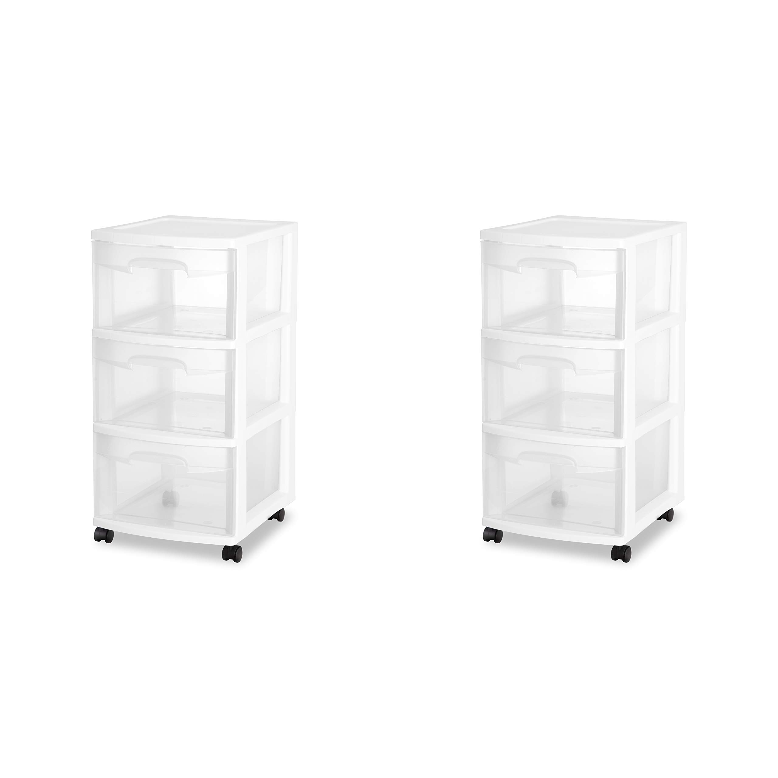 Sterilite 28308002 3 Drawer Cart, White Frame with Clear Drawers and Black Casters, 2-Pack by STERILITE