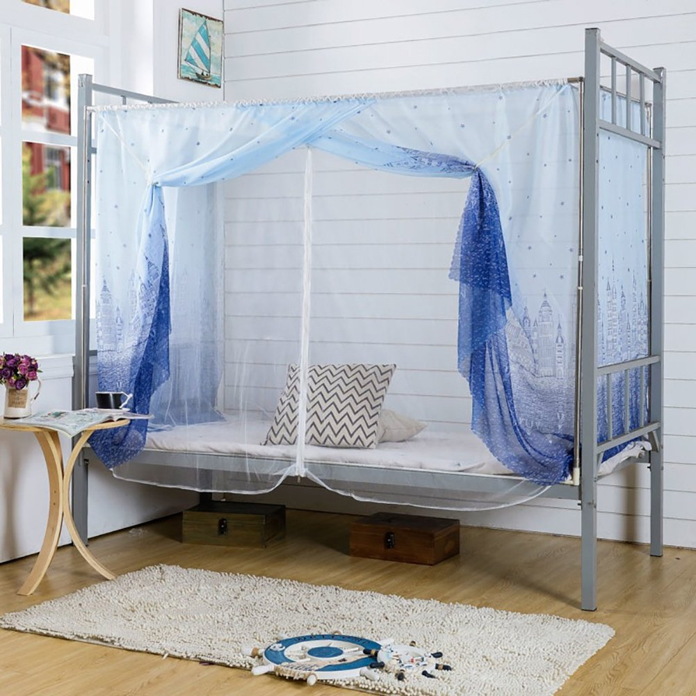Dormitory Mosquito Net,Tofover Bunk Bed Encryption Nets Bed Canopy Square Student Dorm Netting Blackout Curtains Anti-Mosquito Tent (Multi 1, 90 X 190 X 150CM)