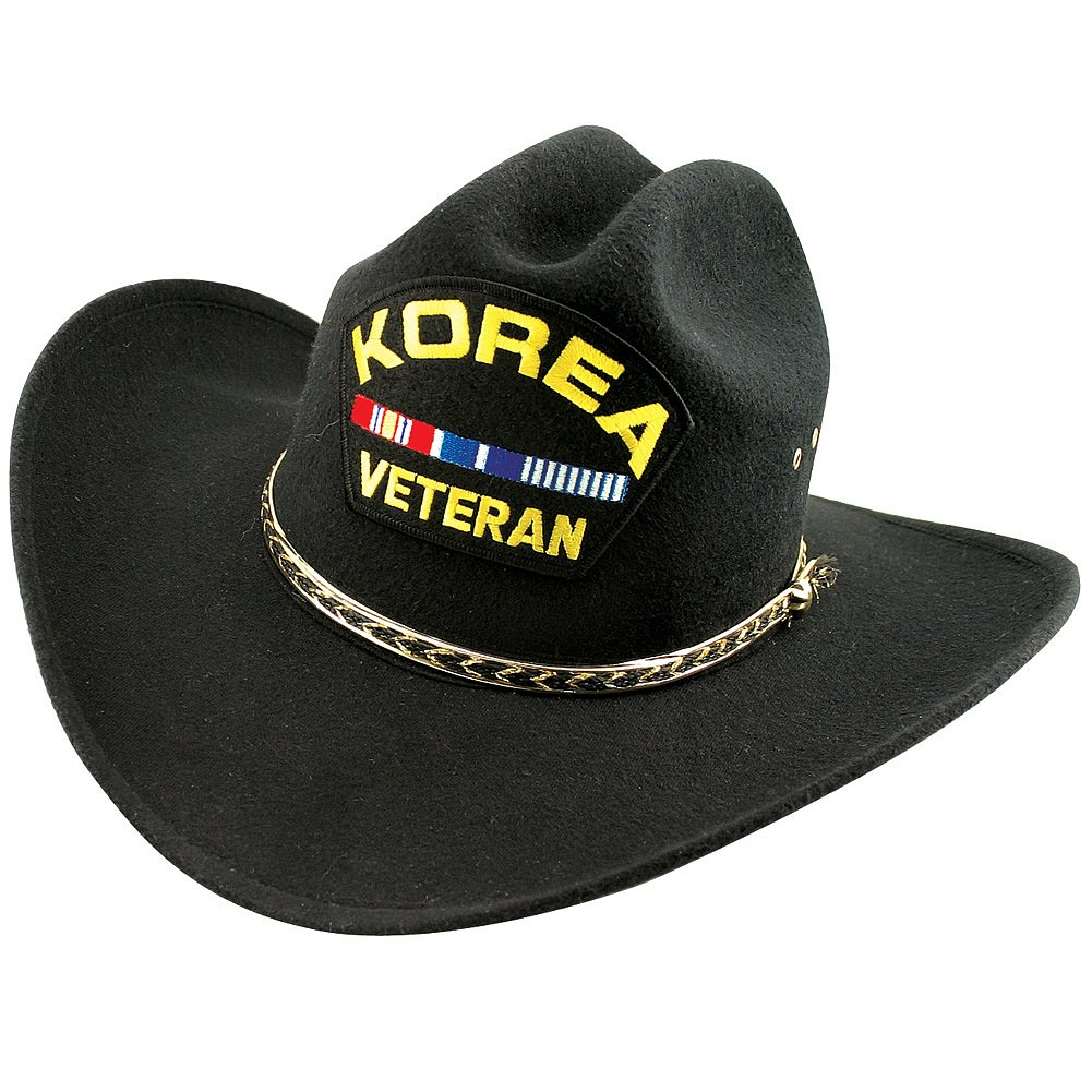 Eagle Crest Proud Korean War Veteran Black Felt Embroidered Western Cowboy Hat 87898