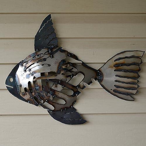 Amazon.com: Recycled metal fish wall art - Mosaic rustic fish ...