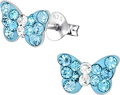 925 Sterling Silver Crystal Aquamarine Butterfly Sleeper Hoop Earring Kids
