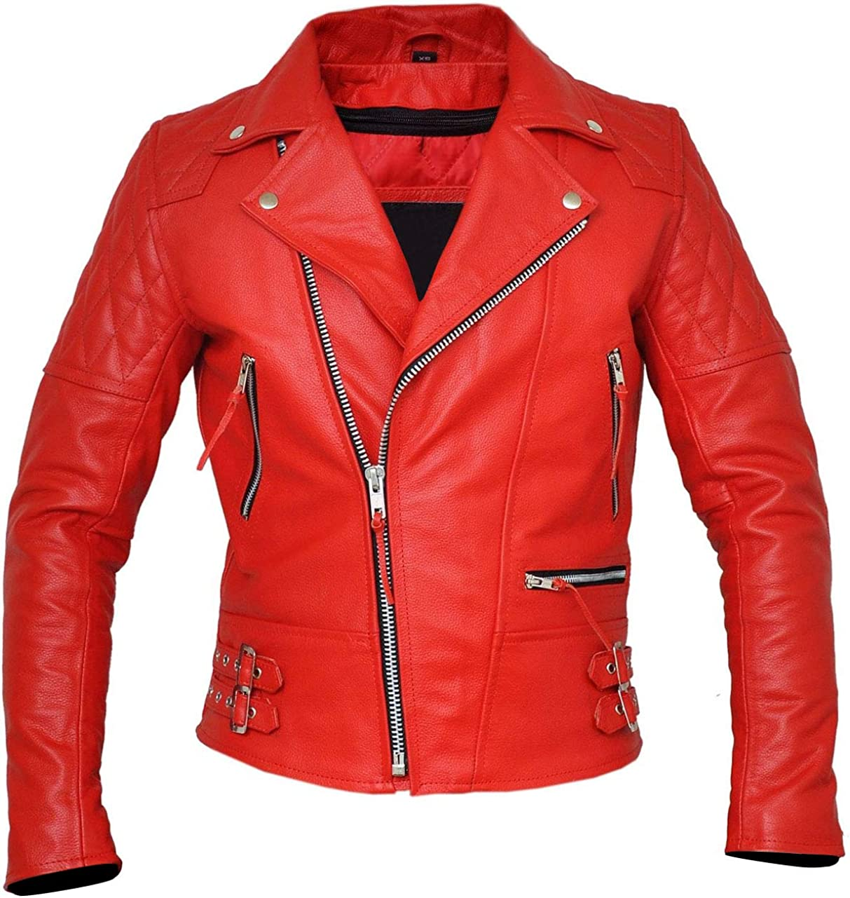 Classic Diamond Mens Red Armored Motorcycle Leather Jacket