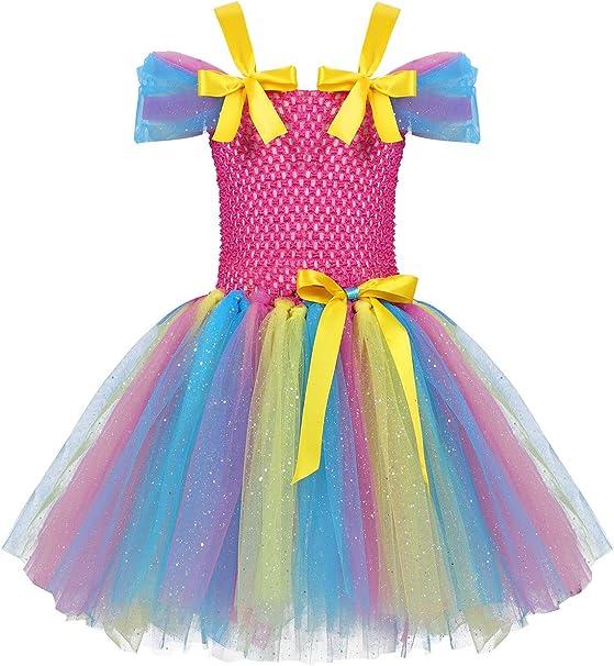 YiZYiF Vestido Tutú Princesa Niñas Vestido Unicornio Arcoiris ...