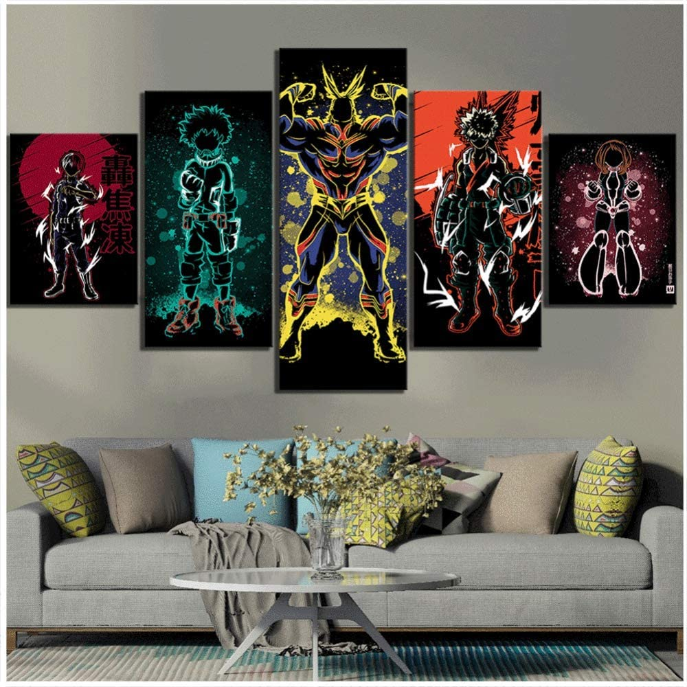 LFLYBCX My Hero Academia Anime Poster Boku No Hero Academia Pictures,5 Piece Cartoon Picture Canvas Paintings,for Wall Art Childrens Bedroom,A-20/×30/×2+20/×40x2+20x50/×1