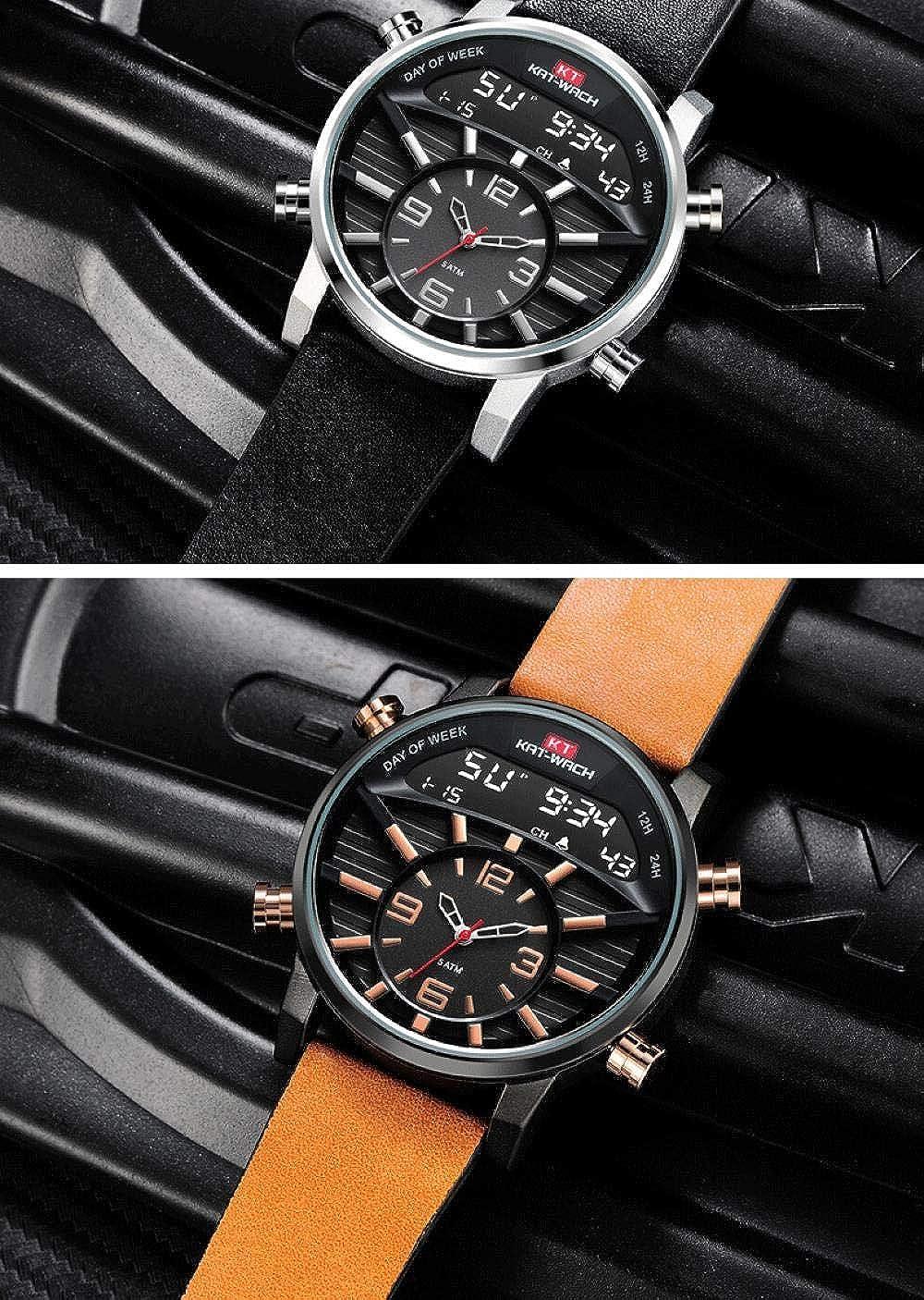 Montres Bracelet,Grand Pointeur De Cadran + Montre À Quartz De Sport Étanche À Double Affichage Numérique R