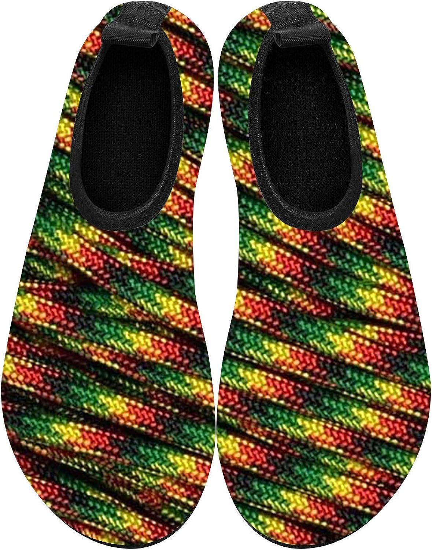 BEOT 3D Printed Water Sports Shoes Barefoot Quick-Dry Famaica Flag Green Aqua Yoga Socks for Men Women