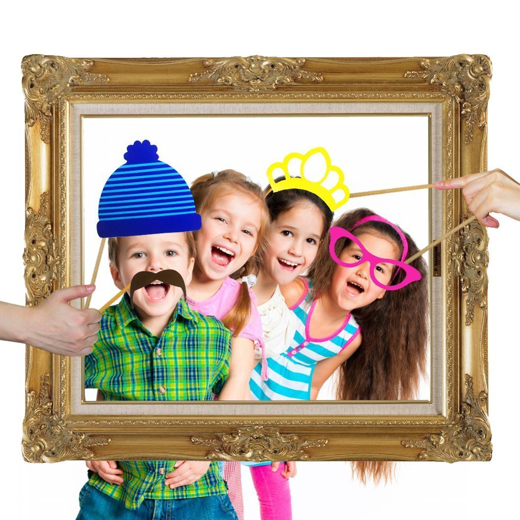 Veewon 24pcs Party Photo Booth Props With Antique Paper Frame for Party, Wedding, Birthday, Graduation