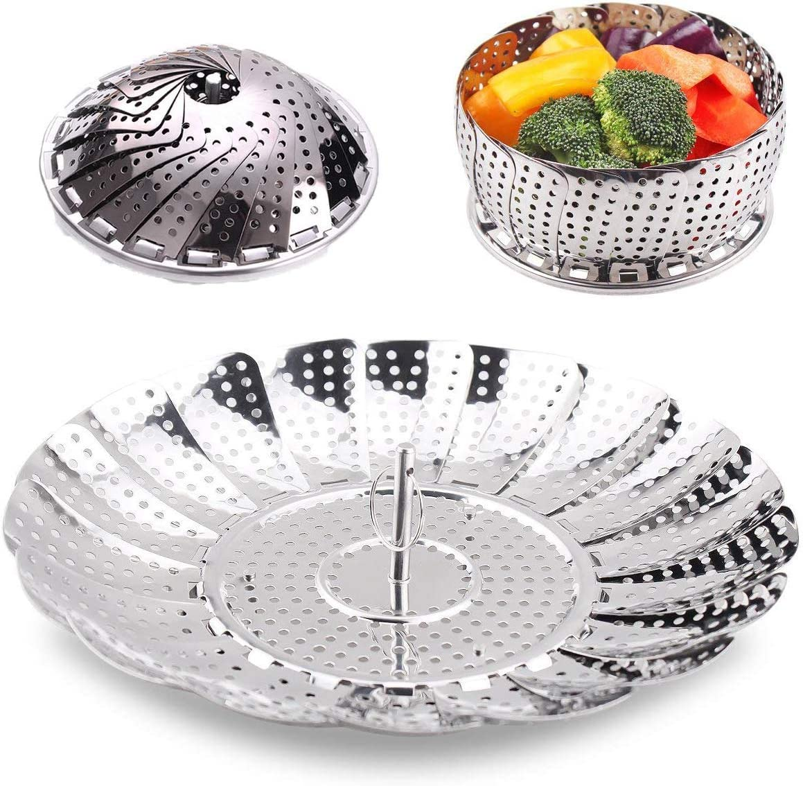 Food Steamer Basket for Cooking, Stainless Steel Vegetable Steamer Basket Retractable Kitchen Fruit Basket, Plug-in pan for Pans and Pressure Cookers (Small)