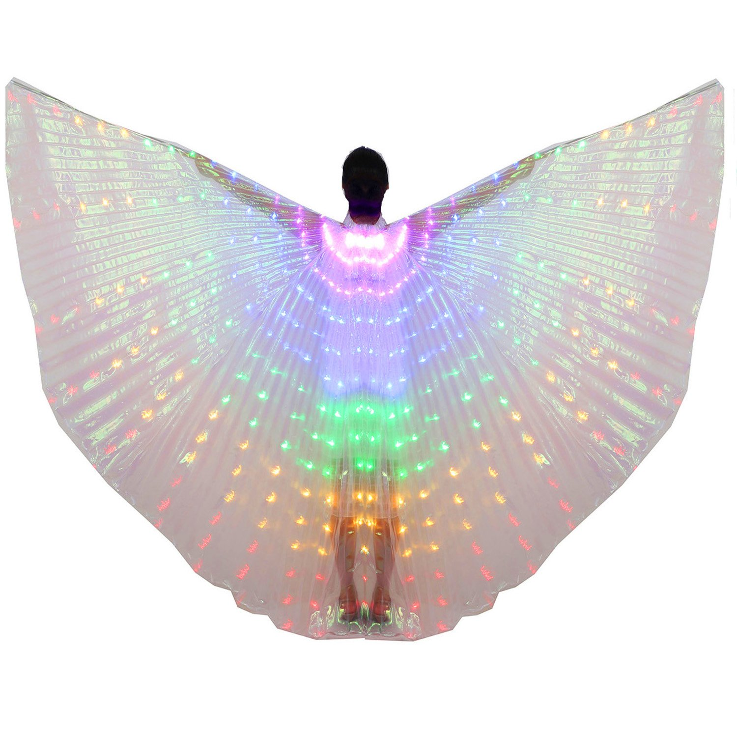 Dance Fairy Belly Dance LED Colorful Isis Wings with Stick(Purple-Blue-Green-Yellow-Red) by Dance Fairy