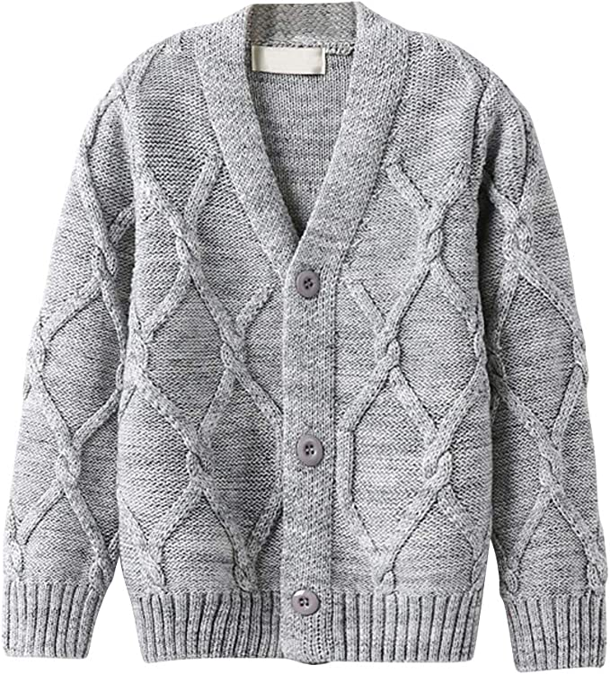 OCHENTA Boys Knitted V-Neck Button Up Cotton Cardigan Sweater