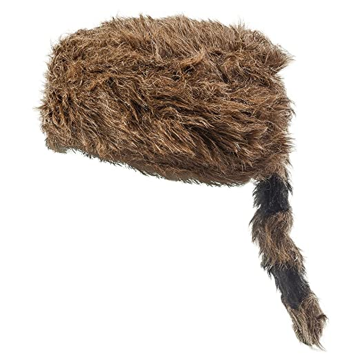 bbbc58b0b20 Amazon.com  Faux Racoon Tail Hat - Coonskin Daniel Boone Hats for Adults  Funny Party Hats …  Clothing