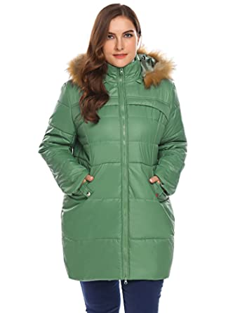 dfe7ae773fd Image Unavailable. Image not available for. Color  Zeagoo Women s Plus Size  Waterproof Quilted Parka Faux ...