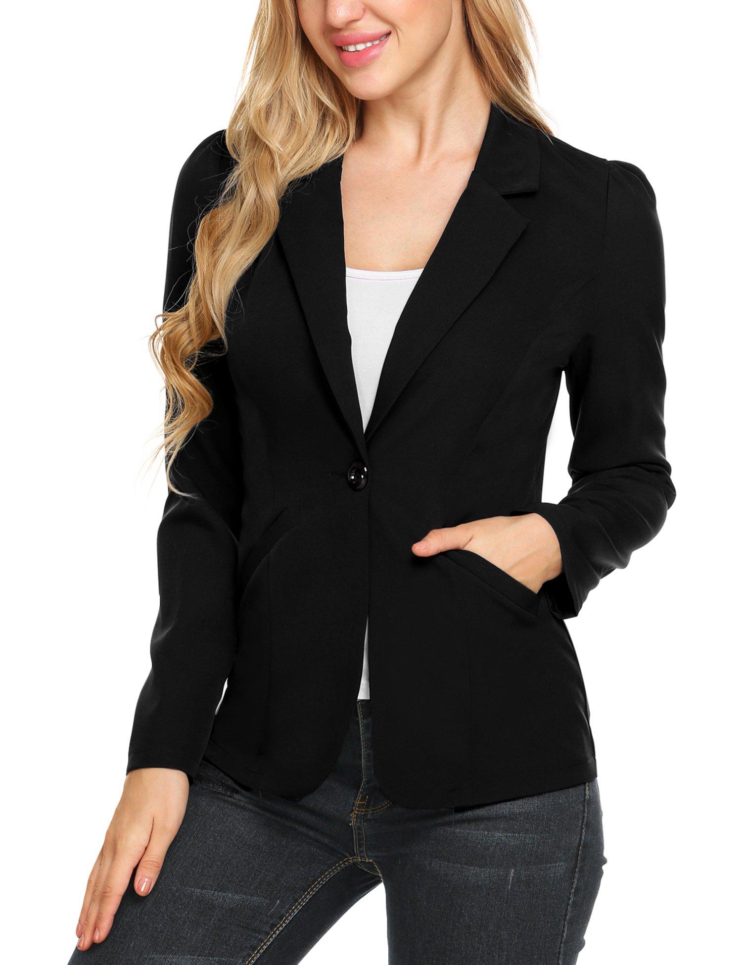 Ouyilu Women's Blazers Open Front Button Cardigan Jacket Work Office Blazer (Black, L)
