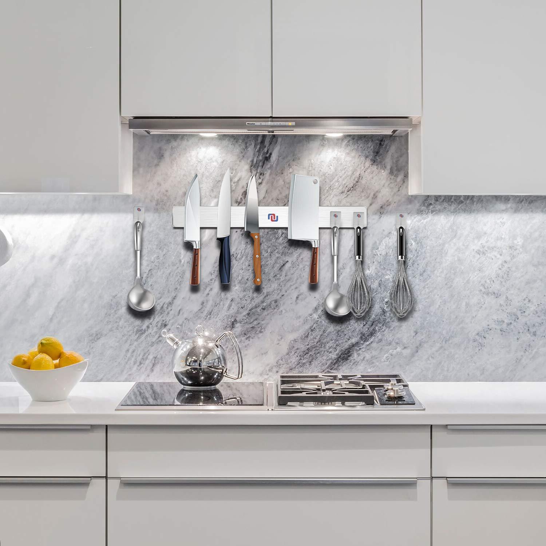 NUNET 16 Inch Stainless Steel Magnetic Knife Bar 4 Hanger Hooks with Adhesive Pad Strong Magnet as Knife Rack/Strip, Kitchen Utensil Hanger, Garage Tool Holder & Home Organizer by NUNET (Image #8)