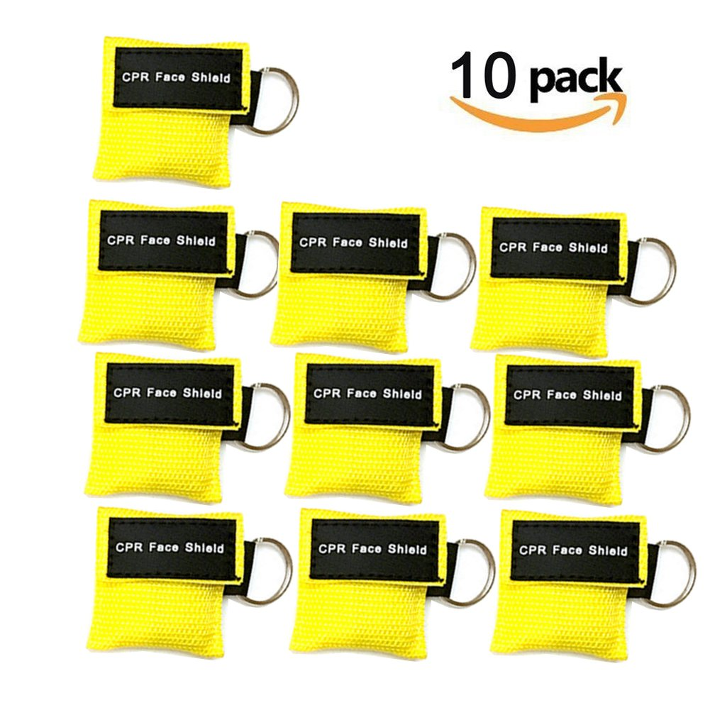 CPR Mask Keychain Ring Pack of 10pcs Emergency Kit Rescue Face Shields with One-Way Valve Breathing Barrier for First Aid or AED Training (Yellow-10)