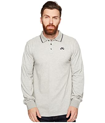 0f0e5097 Image Unavailable. Image not available for. Color: Nike SB Men's Long  Sleeve Dry Polo (Medium, Dark Grey Heather/Obsidian)