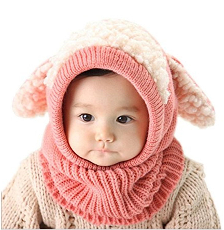 ZZLAY Belle b/éb/é chapeau dhiver /écharpe earflap capuche /écharpes cr/âne casquettes chaudes tricot couverture de visage cagoule