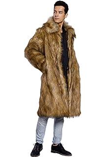 Amore Bridal Mens Faux Fur Coat Long Black Jacket Warm Furry Overcoat Outwear