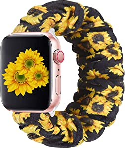 THOUSMOON Scrunchie Elastic Watch Band Compatible for Apple Watch,38mm 40mm / 42mm 44mm Light and Comfortable Watch Scrunchy Band Compatible with Iwatch Series 1/2/3/4 (Sunflower, 38mm/40mm)