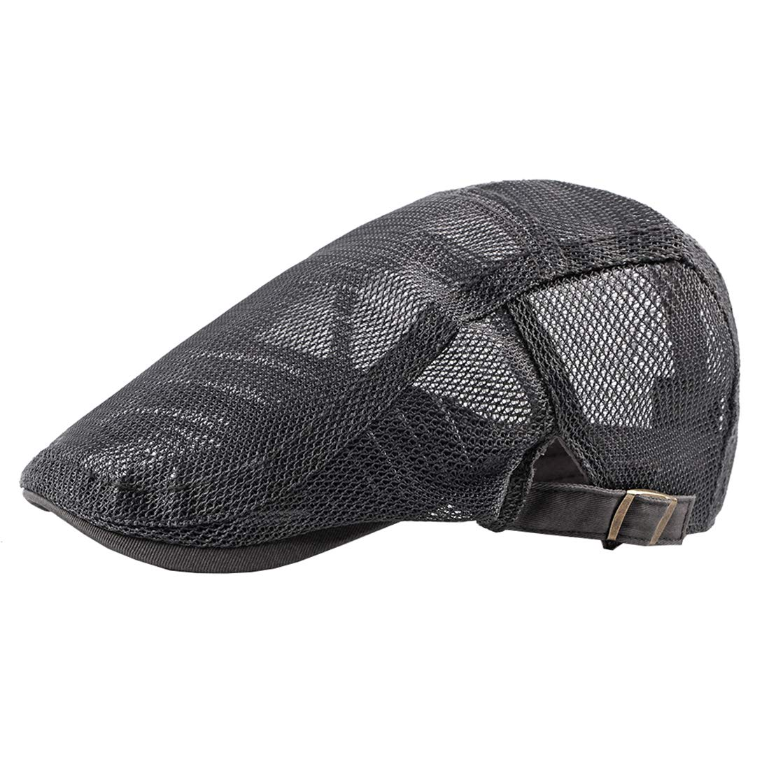 Pogah Solid Mesh-Newsboy Flat Cap Hollow Breathable Ivy Cabbie Hat Summer